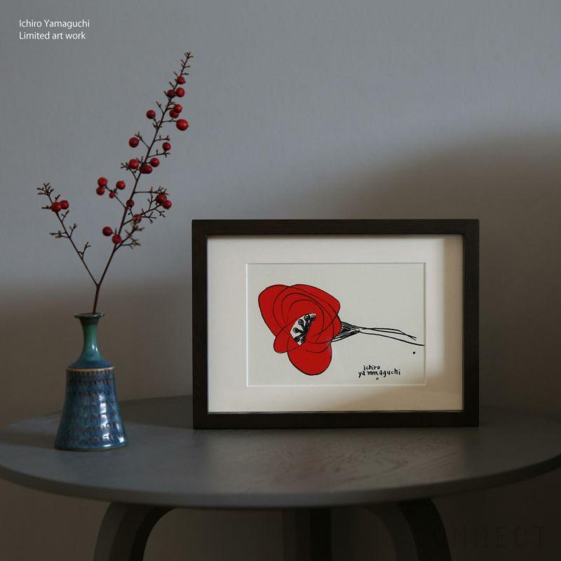 【 数量限定 】山口一郎 シルクスクリーン 「赤いHANA」/ アートポスター / ポストカードサイズ